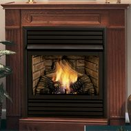 Ventless Gas Fireplace with Hearth and Wall Surround