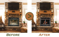 Fireplace Refacing - Before and After