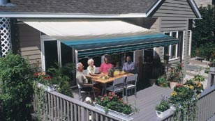SunSetter Retractable Awnings - Blue Stripe Fabric