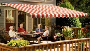 SunSetter Retractable Awnings - Nantucket Collection Cranberry Fabric
