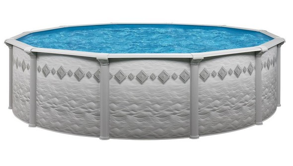 "24' Round Above Ground Swimming Pool Package, 52"" Pacifica w/ Tilestone Wall"