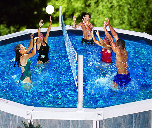 Pool recreation pool toys games pool jam above for Pool design for volleyball