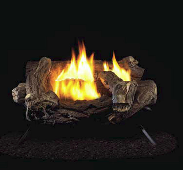 ProCom Split Hickory Ventless Gas Logs - Remote Ready - 18 or 30 inch - Natural Gas Only