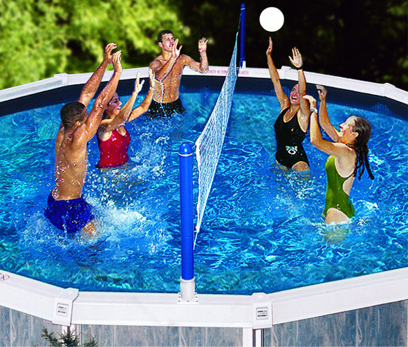 Pool recreation pool toys games above ground cross for Pool design for volleyball