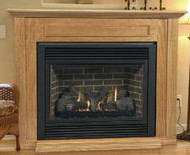 Aria 36 Inch Ventless Gas Fireplace (Remote Ready) with Hearth and Wall Surround