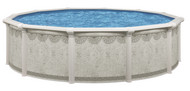 "15' Round Above Ground Swimming Pool Package, 52"" Hartley w/ Khaki Maya Wall"