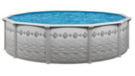 "12' Round Above Ground Swimming Pool Package, 52"" Pacific w/ Tilestone Wall"