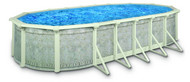"16'x32' Oval Above Ground Swimming Pool Package, 52"" Monaco w/ Venetian Wall"