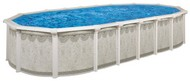 "16'x32'x52"" Oval Above Ground Swimming Pool Package, 52"" Hartley w/ Khaki Maya Wall"
