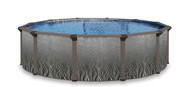 """24' Round Above Ground Swimming Pool Package, 52"""" Quantum w/ Coral Wall"""